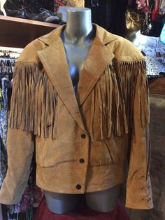 1980' fringed suede leather jacket. Size S/M. by nicevintageshop