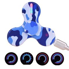 Product production: A rechargeable fidget spinner with 15 LED lights! Specifications:>br> Color: Blue green (optional) Charging time: 45min~1hour Stand-by time: 10~15 days Item weight: 30.5g / 1.0oz ...