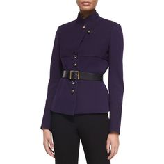Donna Karan Long-Sleeve Belted Trench Jacket (3,840 ILS) ❤ liked on Polyvore featuring outerwear, jackets, dark purple, stand collar jacket, cinch jackets, leather cinch belt, purple straight jacket and donna karan