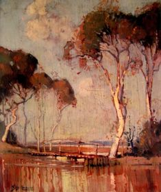 Sydney Long [1871-1955] is Australia's foremost Art Nouveau style painter and a major Symbolist. In works such as The Spirit of the plains 1897, Pan 1898 and Fantasy c 1914, as well as in his many versions of Flamingoes, he created magical images. Long's Art Nouveau paintings are like reveries, an escape from the everyday; they create a feeling of spiritual elevation, of another reality. And yet, seeking imagery which conveyed the 'lonely and primitive feelings of this country&#39...