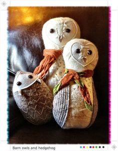 Barn owls and hedgehog made from upcycled felted wool sweaters by Bijoux by Jannice
