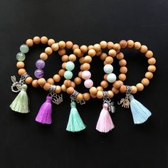 Kids Bracelets Colorful tassel and charm/ The Little Gem/ | Etsy