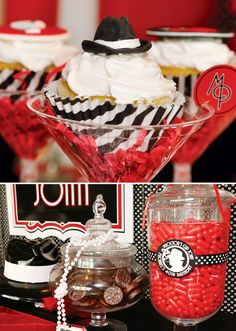 Cupcakes for a party! Hilarious that they serve them in a martini glass.a fedora on a cupcake, I would be so happy! Roaring 20s Party, 1920s Party, Great Gatsby Party, Roaring Twenties, 1920s Wedding, Wedding Ideas, Party Wedding, Gangster Party, Adult Birthday Party