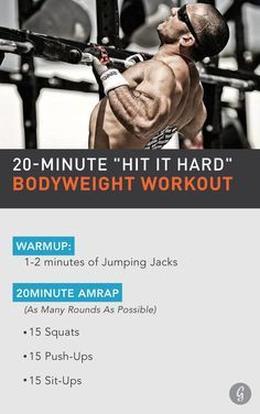 Elite CrossFit athlete Jason Khalipa has a surprisingly simple approach to fitness: Get after... #quick #workouts http://greatist.com/move/jason-khalipa-20-minute-bodyweight-workout