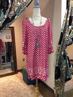 Pink & White Dress or tunic! Sizes: SM thru LG - $59 (Tip: Great for Game Day too!)  Jade Boutique is a trendy boutique in Trussville, AL that carries ladies and tween clothing, purses, shoes, jewelry, accessories, and more! Call (205) 655-5333 or stop by TODAY!