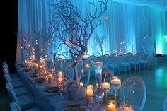 winter wedding decorations in blue LED lighting