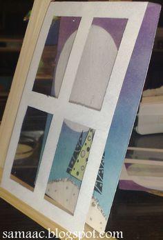 Tarjeta Navideña. 3d acetato pintado con acrilicas
