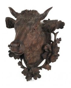 Mountain House - Black Forest Carved Bull's Head Plaque, late c. Black Forest Wood, Cow Head, Animal Heads, French Country Style, Objet D'art, Wood Carving, Wood Art, Hand Carved, Lion Sculpture