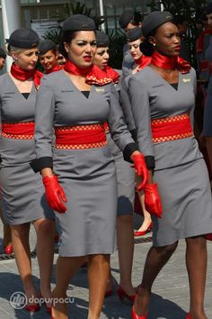 flight attendant, I love the red!!