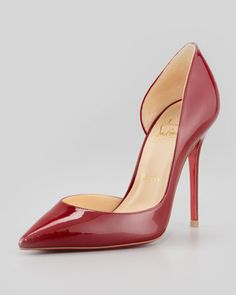 Iriza Pointed-Toe d\'Orsay Red Sole Pump, Rouge by Christian Louboutin at Neiman Marcus.