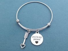 Cupid's arrow You're my person Silver Bangle Bracelet by Gliget