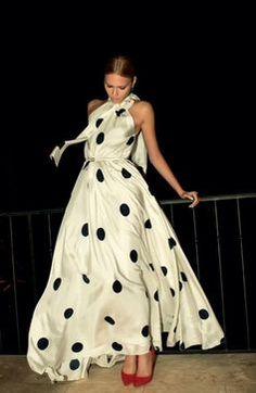 This dress is amazing! Love the idea of the shimmering silk with fat polka dots. Could use ink!