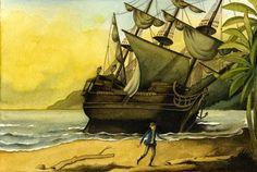Giovanni Manna: Illustrazione per L'isola del tesoro di R.L. Stevenson - da: Quel che debbo ai Quindici /2