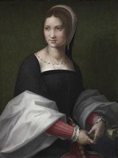DAME v. 1518 - Cercle d'Andrea del Sarto, Femme (habillée à la française), v. 1518. Huile sur bois. Cleveland, Cleveland museum of art.