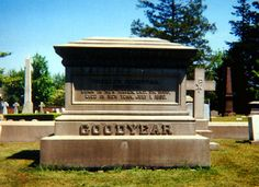 Grave Marker- Charles Goodyear, American inventor. Goodyear died while traveling to see his dying daughter. After arriving in New York, he was informed that she had already died. He collapsed and was taken to the Fifth Avenue Hotel in New York City, where he died. He is buried in New Haven at Grove Street Cemetery.
