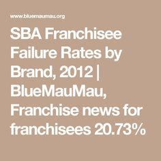 SBA Franchisee Failure Rates by Brand, 2012 | BlueMauMau, Franchise news for franchisees 20.73%
