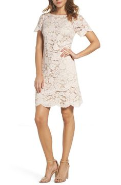 Strike the perfect note of timeless elegance in this classy lace sheath dress styled with pretty cap sleeves and scalloped edges. Bridal Shower Bride Outfit, Shower Dress For Bride, Bridal Shoes, Elegant Dresses Classy, Classy Dress, Lace Sheath Dress, Nordstrom Dresses, Chic Outfits, Dresses With Sleeves