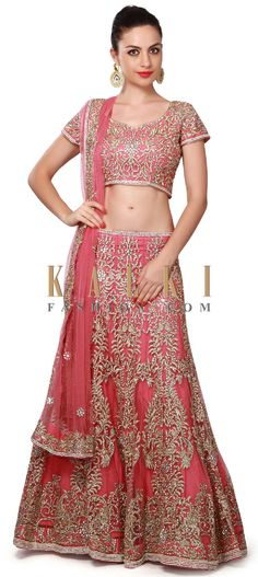 Buy Online from the link below. We ship worldwide (Free Shipping over US$100). Product SKU - 267777. Product Price - $659.00. Product link - http://www.kalkifashion.com/pink-lehenga-embellished-in-zari-and-pearl-embroidery-only-on-kalki.html