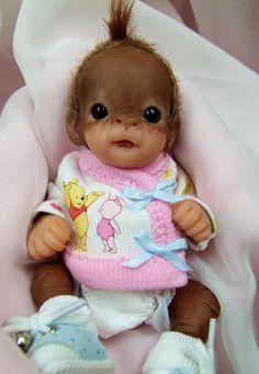 OOAK Baby Orangutan Monkey Girl Sculpted Polymer Clay Art Doll Winnie Pooh #Dolls