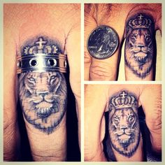 Lion With Crown Tattoo - Crowned Lion Tattoo Ideas // May, 2020 Men Finger Tattoos, Hand Tattoos, Lion Tattoo On Finger, Finger Tattoo For Women, Finger Tats, Neue Tattoos, Body Art Tattoos, Crown Finger Tattoo, Thumb Tattoos