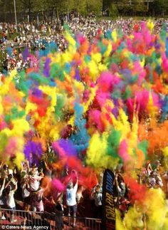 A color run festival fashioned after the Holi Festival with environmentally safe and non-toxic color powders.