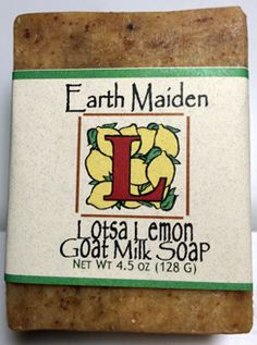 Lotsa Lemon soap by Earth Maiden is envigorating and refreshing with an 'in your face' fresh squeezed lemon scent in a rich, goat milk soap.