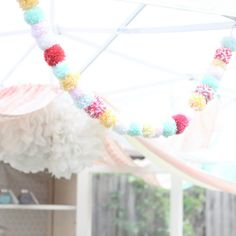 Love the muted colors of this puffball garland. Made for a gorgeous, sprinkle-themed birthday party, I think it could be used at Easter or throughout spring, as well. Too pretty (and too much work!) to be used just once!