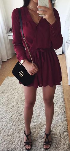 fall  outfits Burgundy Dress + Black Sandals Sacs Gucci, Mode Femme, Tenue 33e9bd51d7c