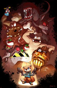 """Conker's Bad Fur Day drawn by Isabelle """"CPTBee"""" CarronConker's Bad Fur Day has always had a special place in my heart as it's pretty much the game that steered little … Vintage Video Games, Retro Video Games, Video Game Art, Beast Boy, Conker Live And Reloaded, Banjo Kazooie, Bad Art, Conkers, Mario And Luigi"""