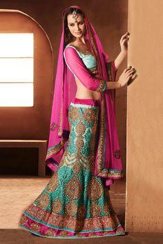 Buy Green And Pink Designer Lehenga Choli   UK Online Designer Outlet