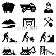 coal miner: Minería y el icono minero conjunto Vectores