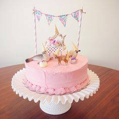 """party animals"" birthday cake w/ banner"