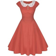 Partiss Women Classy Vintage Audrey Hepburn Style 1940's Rockabilly... ($15) ❤ liked on Polyvore featuring dresses, red rockabilly dress, red dress, red cocktail dress, vintage dresses and vintage cocktail dresses