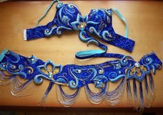 Royal blue & turquoise, beaded, Embroidered cut out bellydance bra and belt set costume