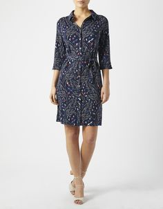 In an always-chic shirt silhouette, our Betty dress is a master of throw-on-and-go style. Showcasing a pretty bird print, it fastens with buttons from collar...