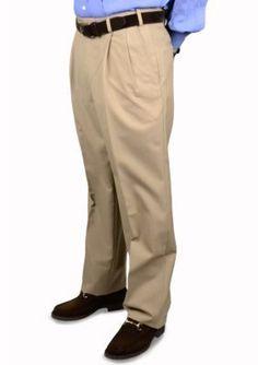 BERLE Tan Wool Self Sizer Waistband Trouser