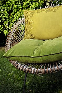 Cushions collection http://www.elitis.fr/en/accessory  #cushions, #home, #accessories, #decoration, #yellow, #green