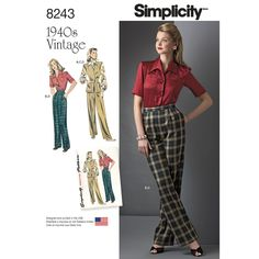 Simplicity 8243 Misses' Vintage 1940s Sportswear sewing pattern