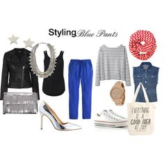 """""""How to Style Blue Pants"""" by thirtysomethingfashion on Polyvore"""