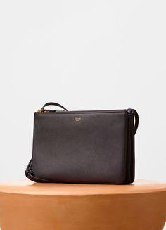 Trio Shoulder Bag in Black Grained Lambskin