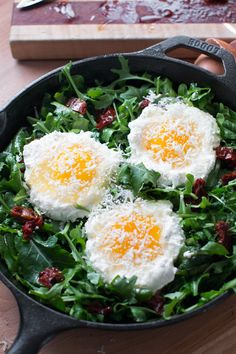 Baked Eggs with Ricotta, Greens & Sun Dried Tomatoes prebake