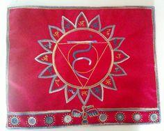 Vishuddhi chakra, small altar cloth, embroidery on silk Altar Cloth, Chakra, Elf, Embroidery, Handmade, Needlepoint, Hand Made, Chakras, Elves