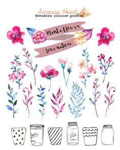Plant a flower soft watercolor planner stickers by AurorasHeart