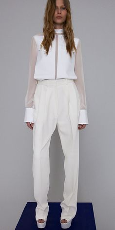 Optic White Fine Cotton Taffeta Bonded Plastron Panel Shirt  20M042891.01OP    White Silk Crepe Cady Double Pleat Wide Pants  21H013835.01BC    7cm Platform Sandal in Optic White Lambskin  3C7215STA.01OP  Spring 2012 Celine