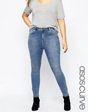 ASOS CURVE Lisbon Mid Rise Skinny Jean in Tamsin Wash