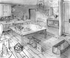 This is a layout I made for college subject last year. Layout two points perspective - Old kitchen 2 Point Perspective Drawing, Perspective Room, Kitchen Drawing, Interior Design Sketches, Object Drawing, House Drawing, Animation Background, Environment Concept Art, Art And Architecture