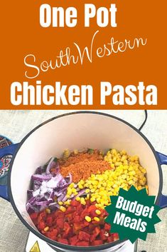 Budget Meals: One Pot South-Western Chicken Pasta - Navicore Cheap Dinners, Weeknight Dinners, Budget Meals, Budget Cooking, Western Food, Dinner This Week, Recipe Please, Managing Your Money, One Pot