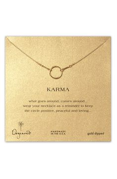 Very pretty simple necklace.  Great for layering.  Free shipping and returns on Dogeared 'Reminder - Karma' Boxed Pendant Necklace at Nordstrom.com. Delicate linked necklace is accented by a handcrafted pendant.