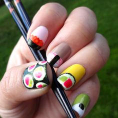 Sushi Nail Art... CUZ DAT'S JUST HOW I ROLLLLLLLLLLLLLL!!!!!!!!! THEY SEE ME ROLLIN THEY HATIN... LOL!