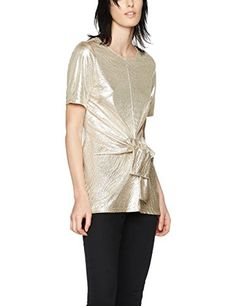 FIND Women's Metallic Twisted Front T-Shirt, Pink (Champagne), 16 (Manufacturer Size:X-Large)